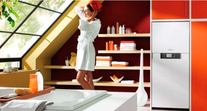 Chaudière gaz condensation intégré dans un espace salle de bains