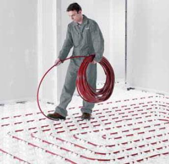 pose du plancher chauffant sur plaque plots renforc s. Black Bedroom Furniture Sets. Home Design Ideas