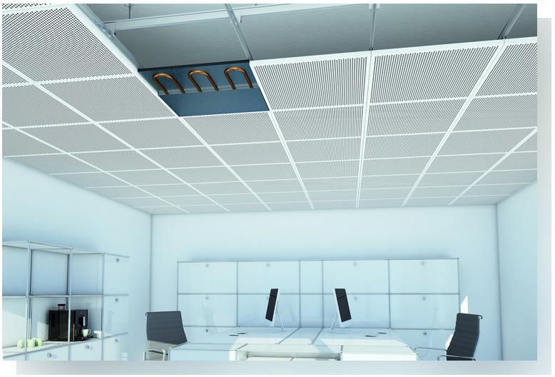Solution de plafond chauffant rafra chissant for Faux plafond chauffant