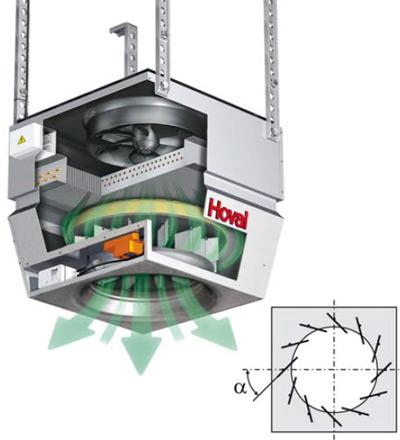 Vue en coupe d'un appareil décentralisé avec diffuseur  Air-Injector