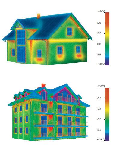 maison et immeuble vus en caméra thermique