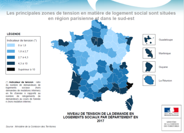 Carte demande logements sociaux France