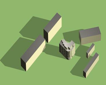 implantation des bâtiments environnants