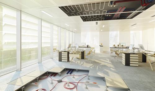 plafond rayonnant bureaux ZENORA