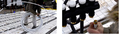 Déroulage des tubes de liaisons jusqu'au collecteur et raccordement