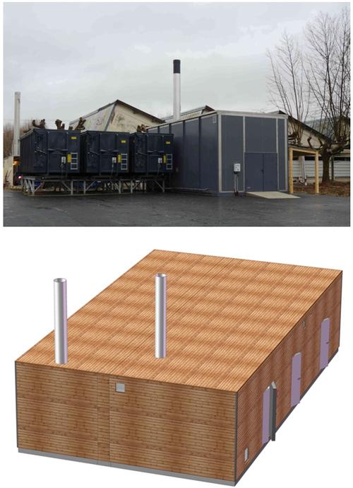 Chaufferie modulaire Bois + silo+ Gaz
