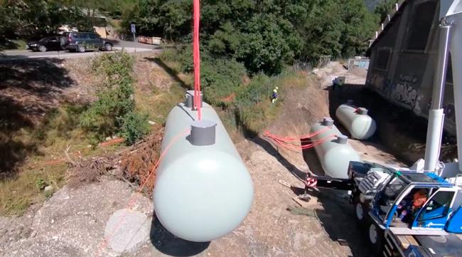 Installation des citernes de gaz