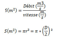 formules surface canalisations ECS