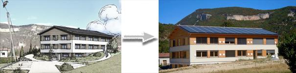Label E+C- des nouveaux bureaux «LowCal», certifié Energie 4 / Carbone 2