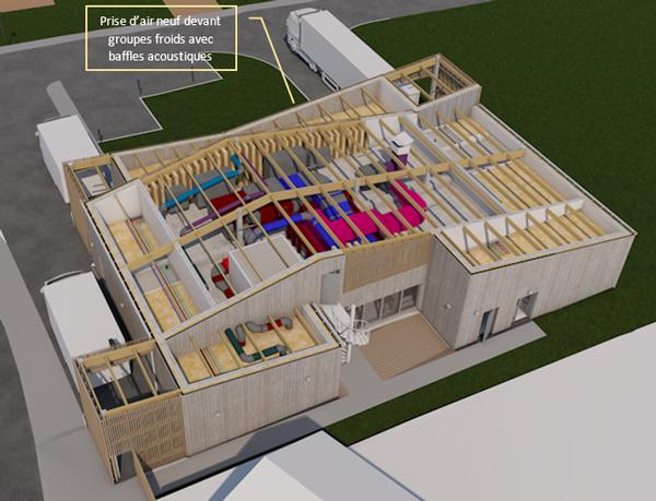 Vue 3D du local technique avec traitements acoustiques