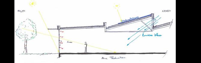 Schéma de la toiture en SHED