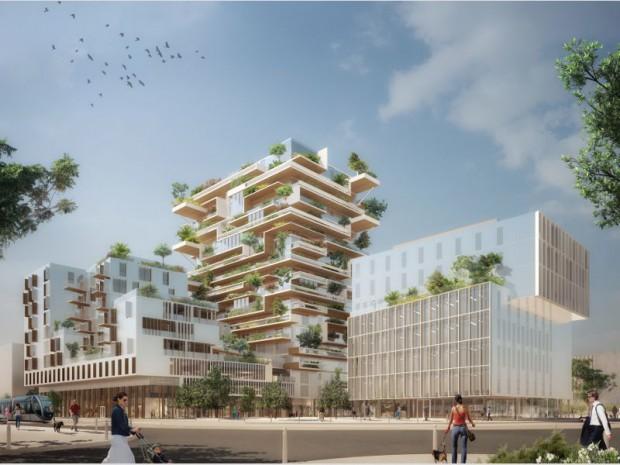 Construction bois bas carbone sur 57 mètres de haut de 82 logements