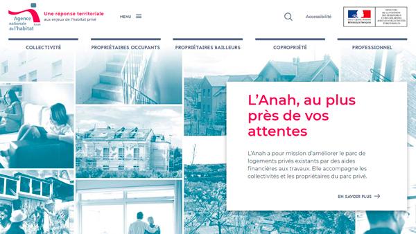 Home page du site de l'Anah