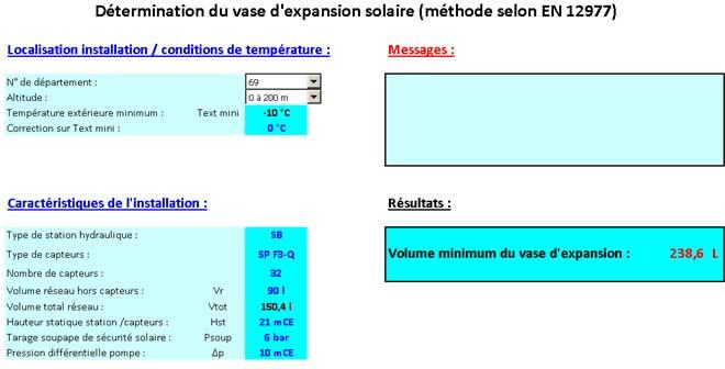 Logiciel de détermination du vase d'expansion