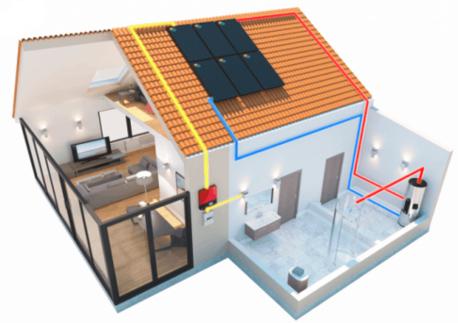 maison avec un chauffe-eau solaire hybride