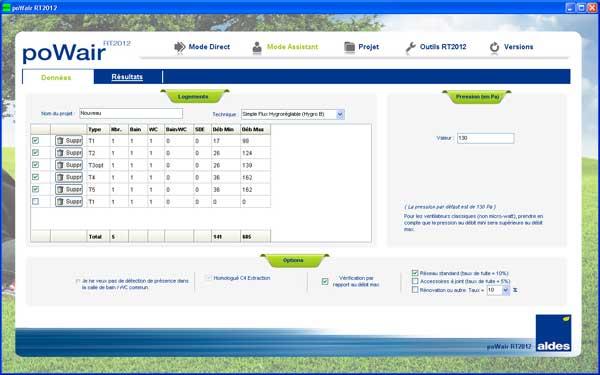 Selector PoWair logiciel